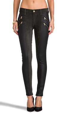 7 For All Mankind Double Zip Sueded Skinny in Juniper Green