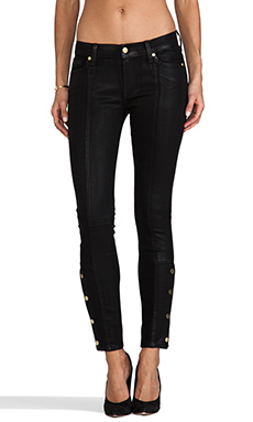 7 For All Mankind Button Ankle Skinny in Coated Second Skin Slim Illusion Black