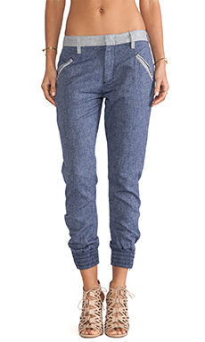 7 For All Mankind Drapey Contrast Pant in Indigo Herringbone