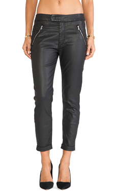 7 For All Mankind Slant Zip Soft Pant in Black Coated Twill