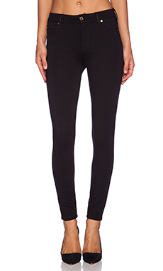 7 For All Mankind High Waisted Contour Ankle Skinny in Slim Illusion Black Double Knit