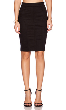 7 For All Mankind Seamed Pencil Skirt in Black Runway Denim
