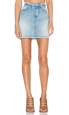7 For All Mankind A Line Raw Hem Mini Skirt in Aura Blue Heritage