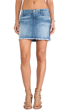 7 For All Mankind Josefina Mini Skirt in Authentic Oceanside