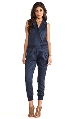 7 For All Mankind Chambray Romper in Navy Chambray
