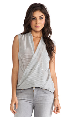 7 For All Mankind Stripe Twist Cowl Tank in Grey & White Stripe