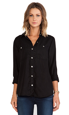 7 For All Mankind 2 Pocket Slim Button Shirt in Black