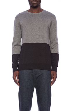 Shades of Grey by Micah Cohen Colorblock Sweater in Charcoal/ Black