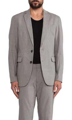 Shades of Grey by Micah Cohen 2 Button Blazer in Slate Stripe