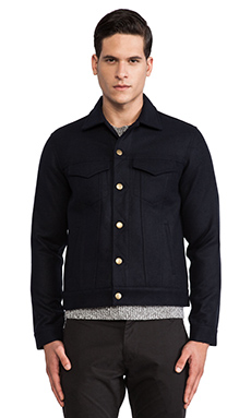 Shades of Grey by Micah Cohen Wool Trucker Jacket in Navy