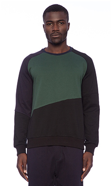 Shades of Grey by Micah Cohen Colorblock Sweatshirt in Forest Green/ Navy/ Black