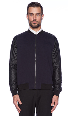 Shades of Grey by Micah Cohen Knit Bomber Jacket in Navy/ White