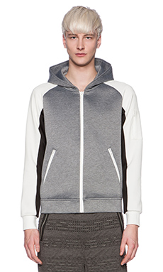Shades of Grey by Micah Cohen Neoprene Hoodie in Grey & White