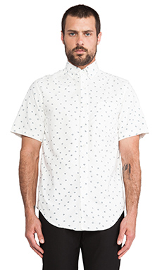Shades of Grey by Micah Cohen Snowflakes Shirt in White/ Blue