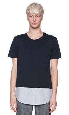 Shades of Grey by Micah Cohen Shirttail Hem Tee in Navy