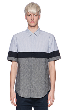 Shades of Grey by Micah Cohen Colorblock Shirt in Stripe & Chambray