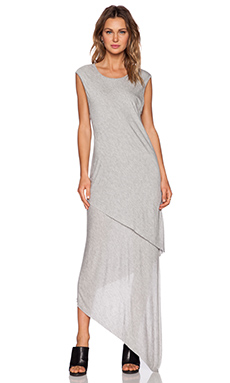 Shades of Grey by Micah Cohen Asymmetric Maxi Dress in Heather Grey