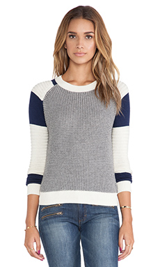 SHAE Stitchy Moto Pullover in Grey Combo