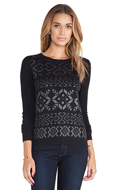 SHAE Coated Fairisle Printed Pullover in Black