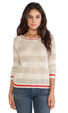 SHAE Shadow Stripe Pullover Sweater in Gold Combo