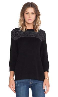 SHAE Blocked Ribbed Pullover Sweater in Black Combo