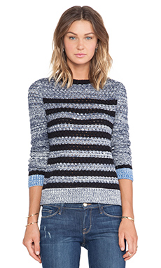 SHAE Basketweave Stripe Pullover in Navy Combo