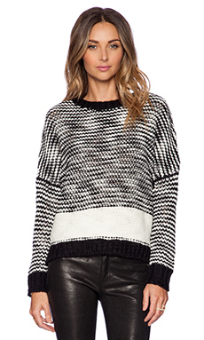 SHAE Striped Easy Pullover in Vanilla & Black Combo