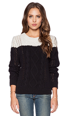 SHAE Elsey Open Stitch Pullover in Black Combo