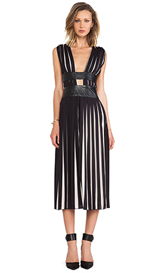Shakuhachi Pleats Please Maxi Dress in Black & White