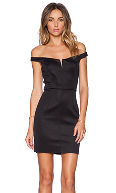 Shakuhachi Off Shoulder Mini Dress in Black