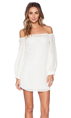 Shakuhachi Mirabelle Off Shoulder Bell Sleeve Shift Dress in White