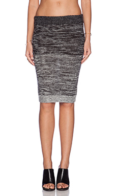 Shakuhachi Gradient Knit Pencil Skirt in Charcoal Mix