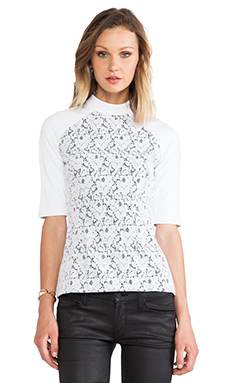 Shakuhachi Lace Overlay Top in White/Black Lining