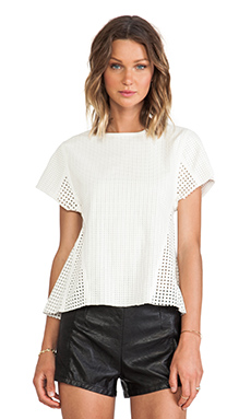 Shakuhachi Lattice Leather Shirt in White