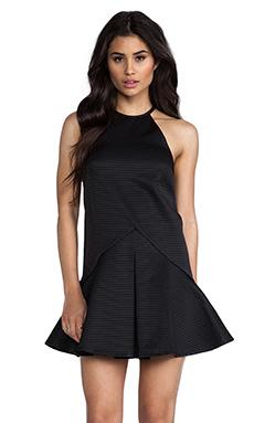 Shona Joy The Eccentric Pleat Front Shift Mini Dress in Black