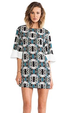 Shona Joy Bell Sleeve Mini Shift Dress in Multi