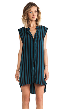 Shona Joy Linework Roll-Sleeve Shift Dress in Bottle & Black