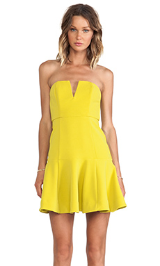 Shona Joy Hypnotic Bustier Trumpet Dress in Sulphur