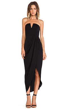 Shona Joy V Bustier Draped Midi Dress in Black