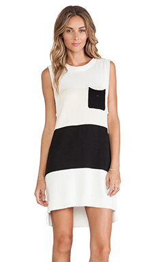 Shona Joy Museum Sleeveless Knit Shift Dress in Black & Ivory & Nude