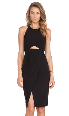 Shona Joy Graphite Cross Over Bodycon Dress in Black