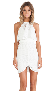Shona Joy Romanticist High Neck Frill Cocktail Dress in Ivory