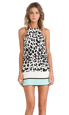 Shona Joy Impressionist Racer Mini Shift Dress in Leopard/Stripe