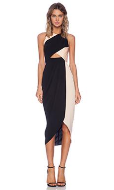 Shona Joy Lover's Instinct Midi Dress in Nude & Black