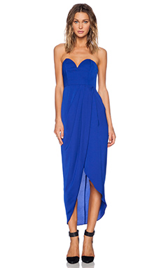 Shona Joy Bustier Draped Maxi Dress in Cobalt