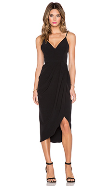 Shona Joy The Modernists Draped Midi Dress in Black