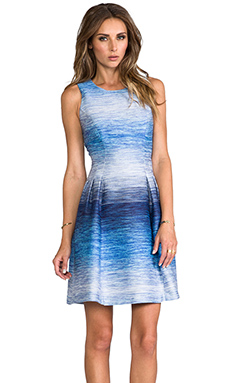 Shoshanna Helena Ombre Tweed Dress in Denim Multi