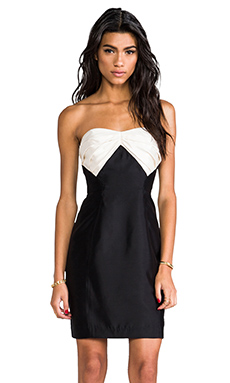 Shoshanna Stella Dress in Black with Ivory Combo