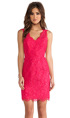 Shoshanna Lace Rose Dress in Watermelon