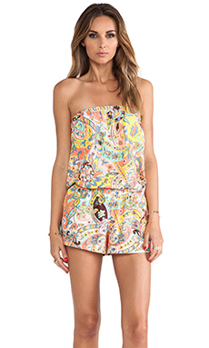 Shoshanna Strapless Romper in Bohemian Floral